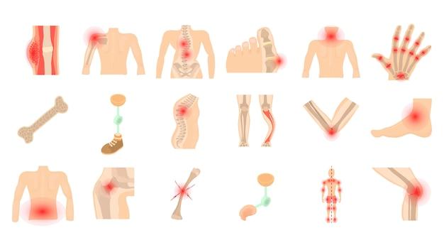 Set di icone di ossa umane