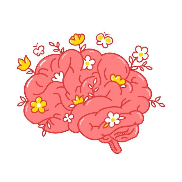 Organo del cervello umano con fiori. vettore disegnato a mano doodle linea stile personaggio dei cartoni animati logo illustrazione. isolato su sfondo bianco. organo del cervello umano, mente sana, fiori, concetto di logo di psicoterapia