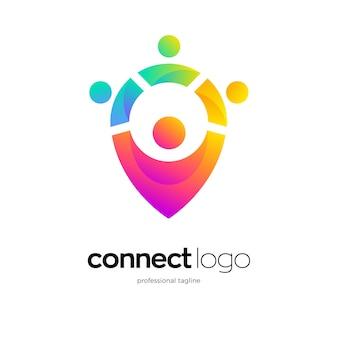Design del logo del punto di connessione umana