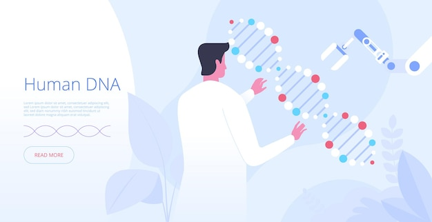 Modello di vettore della pagina di destinazione del dna umano. idea dell'interfaccia della homepage del sito web di ingegneria genetica con illustrazioni piatte. innovazione della medicina. concetto del fumetto dell'insegna di web di ricerca della struttura della molecola del corpo