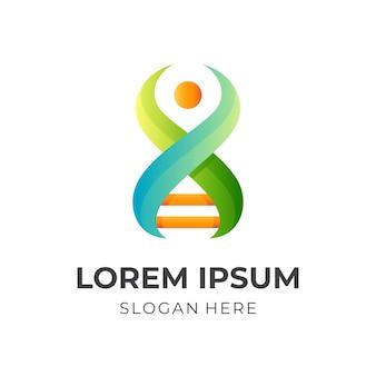 Logo del dna umano, dna e persone, logo combinato con stile colorato 3d