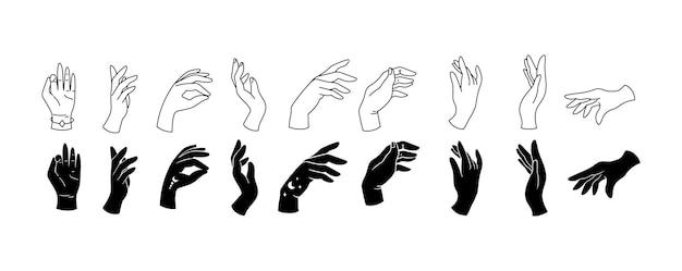 La linea delle mani eleganti umane e le clipart isolate silhouette raggruppano la raccolta di gesti delle mani