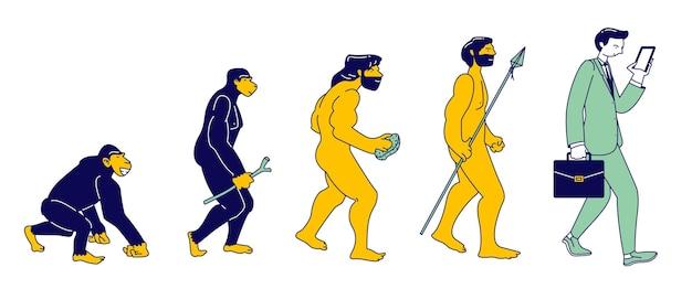 Evoluzione umana della scimmia al moderno uomo d'affari con smartphone isolato. il personaggio maschile evolve passi dalla scimmia all'homo sapiens eretto, teoria di darwin. cartoon piatto illustrazione vettoriale, line art