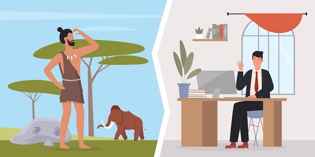 Evoluzione umana cavernicolo primitivo e uomo d'affari impiegato e uomo preistorico