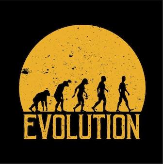 Vettore di evoluzione umana che cammina sullo sfondo della luna piena