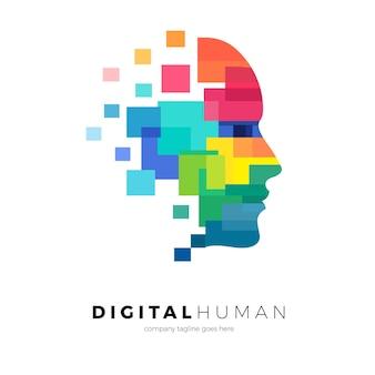 Logo del volto umano con pixel colorati