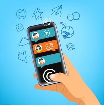 Gesto umano utilizzando smartphone moderno. saluta in diverse lingue