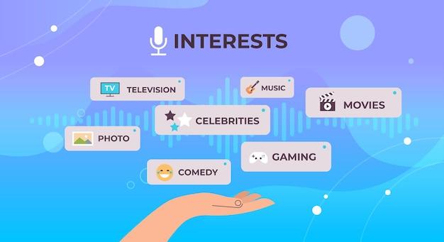 Mano umana scegliendo app conversazione vocale audio social network comunicazione concetto di riconoscimento vocale illustrazione vettoriale orizzontale