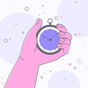 Mano umana che tiene il cronometro timer gestione del tempo reazione rapida