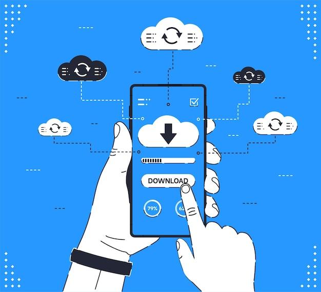 La mano umana tiene lo smartphone con le frecce cloud e la barra di avanzamento sullo schermo