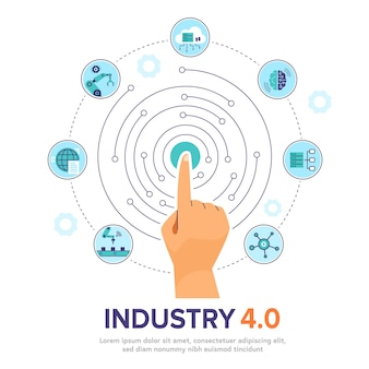 Mano umana che tocca l'interfaccia digitale. illustrazione smart industry 4.0