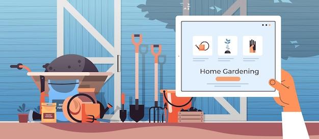Mano umana utilizzando tablet pc eco smart agricoltura gestione casa giardinaggio concetto illustrazione orizzontale
