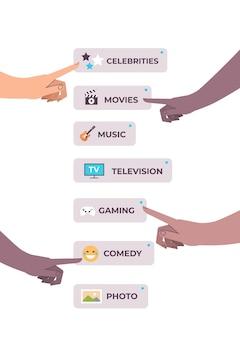 Mani umane che scelgono app conversazione vocale audio comunicazione di rete sociale concetto di riconoscimento vocale illustrazione vettoriale verticale