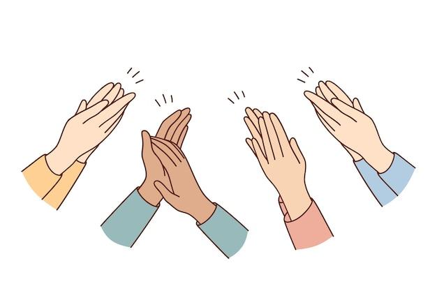 Mani umane che applaudono e applaudono concetto