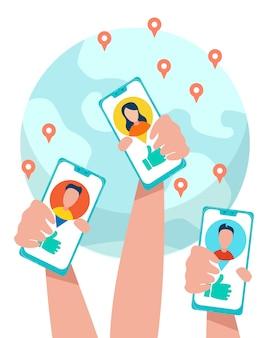 Le mani umane tengono i telefoni con la rete sociale aperta