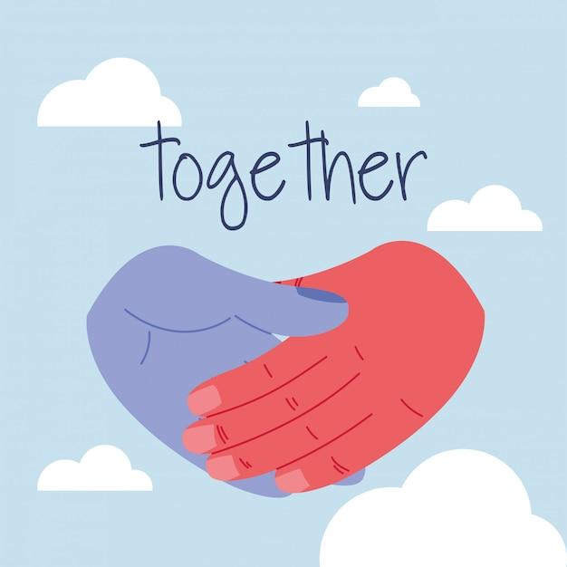 Mani umane unite combattendo insieme