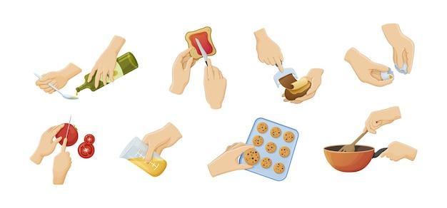 Mani umane che preparano il vettore del fumetto del cibo