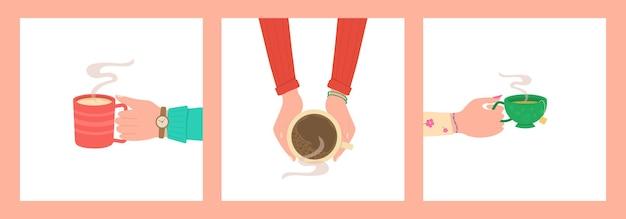 Mani umane con tazza da tè