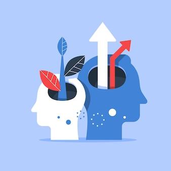 Testa umana e freccia in alto, miglioramento del livello successivo, formazione e mentoring, ricerca della felicità, autostima e fiducia, illustrazione