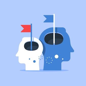 Testa umana e bandiera, miglioramento del livello successivo, formazione e tutoraggio, ricerca della felicità, autostima e sicurezza, illustrazione piatta