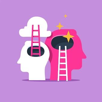 Testa umana e scala, miglioramento del livello successivo, formazione e tutoraggio, ricerca della felicità, autostima e sicurezza, illustrazione piatta