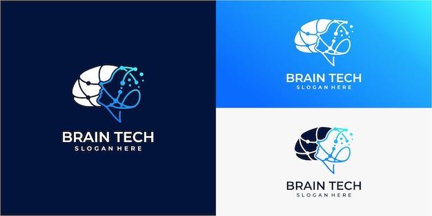 Logo della mente e della tecnologia della testa umana
