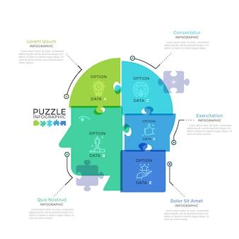 Testa umana o profilo diviso in 5 pezzi di puzzle colorati traslucidi. concetto di cinque caratteristiche del pensiero aziendale. modello di progettazione infografica moderna. illustrazione vettoriale creativo.