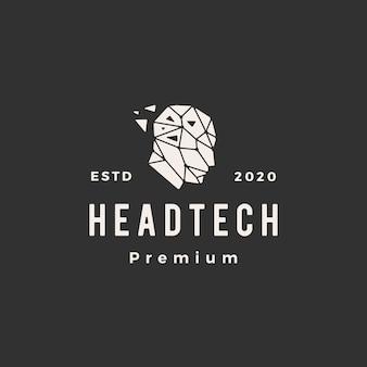 Illustrazione d'annata dell'icona di logo dei pantaloni a vita bassa geometrici di tecnologia della testa umana
