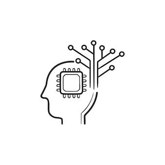 Testa umana con chip, icona di doodle del contorno disegnato a mano del circuito. cervello di intelligenza artificiale, concetto di processore