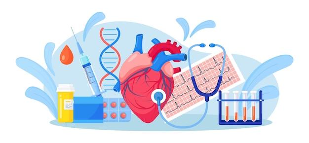 Cuore umano con stetoscopio, cardiogramma ecg, provetta per analisi del sangue, medicinali. visita medica professionale, check up con ascolto del ritmo ed esame del polso. diagnostica delle malattie cardiovascolari