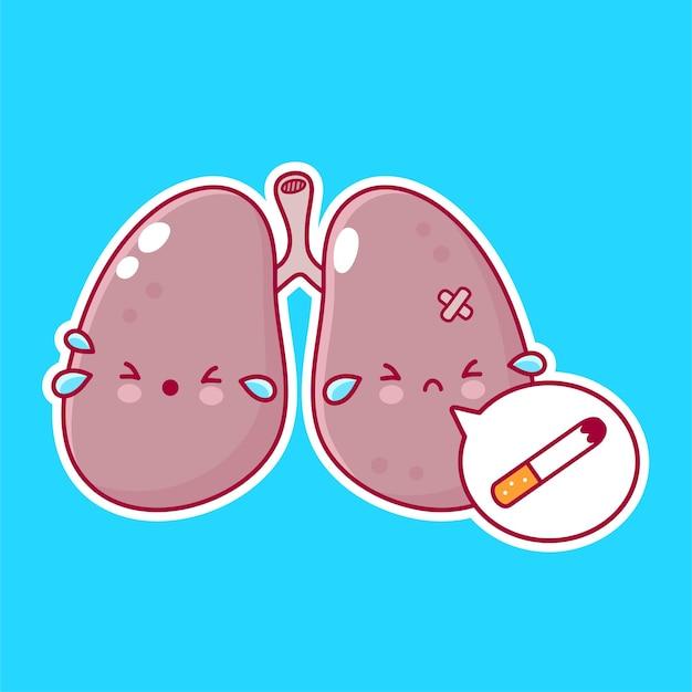 Carattere di organo dei polmoni umani con la sigaretta nel fumetto