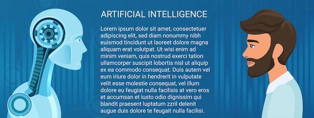 Uomo umano contro opposizione del robot. illustrazione di concetto di vettore di affari e lavoro futuro