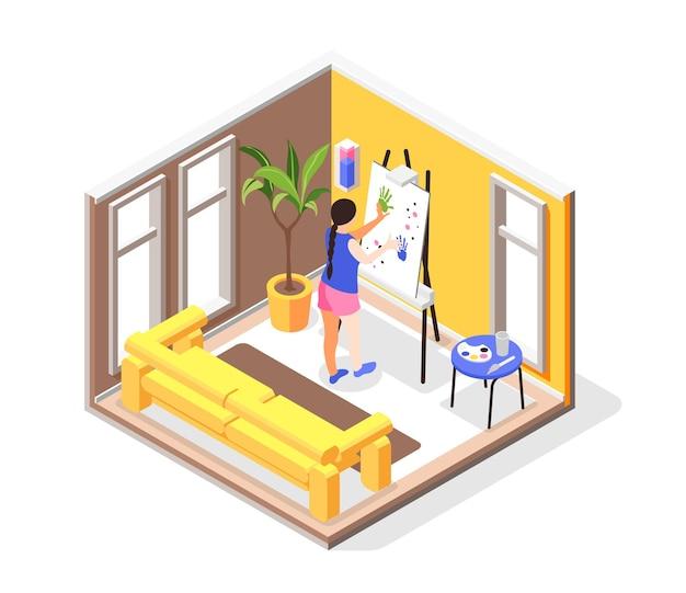 L'essere umano ha bisogno della composizione isometrica con la vista dell'interno dell'appartamento con la ragazza al cavalletto del disegno che fa l'illustrazione della pittura