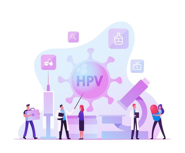 Papillomavirus umano, controllo della diagnosi del virus hpv e concetto di diagnosi precoce. cartoon illustrazione piatta