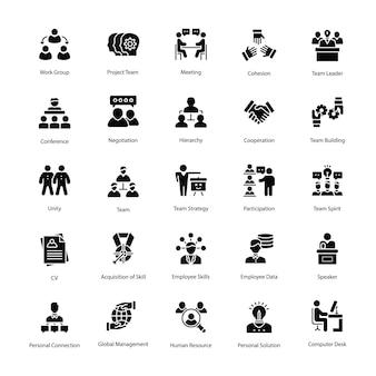 Set di icone di glifo risorse umane