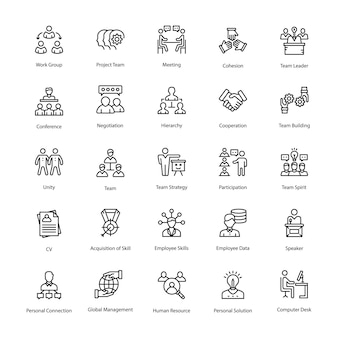 Set di icone di risorse umane linea vettoriale