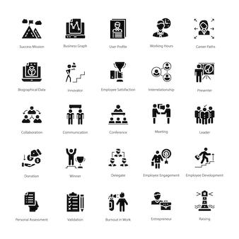 Set di icone vettoriali solido risorse umane