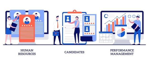 Risorse umane, candidati, concetto di gestione delle prestazioni con persone minuscole. set di servizi per risorse umane e cacciatori di teste. trova dipendenti, candidati al lavoro, software di gestione delle risorse umane.