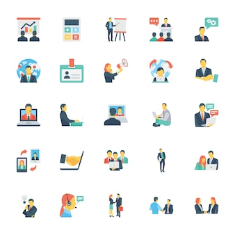 Risorse umane e gestione icone colorate