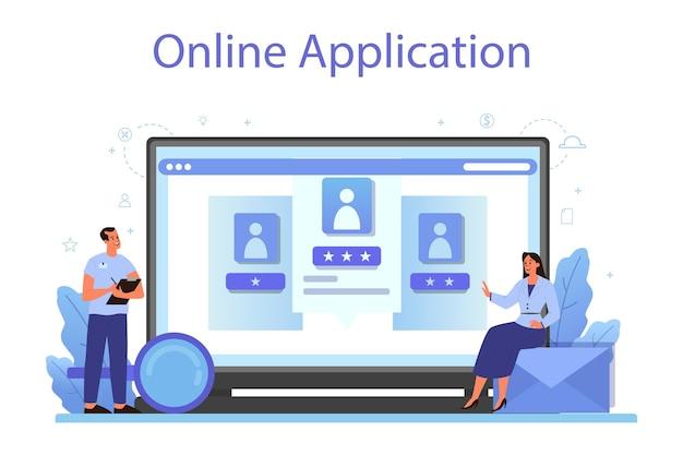 Servizio o piattaforma online delle risorse umane. idea di reclutamento e gestione del lavoro. gestione del lavoro di squadra. applicazione in linea. illustrazione vettoriale piatto