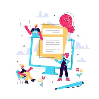 Risorse umane, concetto di assunzione per pagina web, social media. illustrazione le persone selezionano un curriculum per un lavoro, le persone compilano il modulo, assumendo dipendenti, agenzia di collocamento, lavoro di gruppo, risorse umane