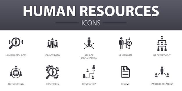 Icone semplici di concetto delle risorse umane messe. contiene icone come colloquio di lavoro, responsabile delle risorse umane, outsourcing, curriculum e altro, può essere utilizzato per web, logo, ui/ux