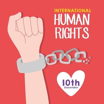 Iscrizione di campagna per i diritti umani con catene che si spezzano a mano e disegno di illustrazione vettoriale di cuore