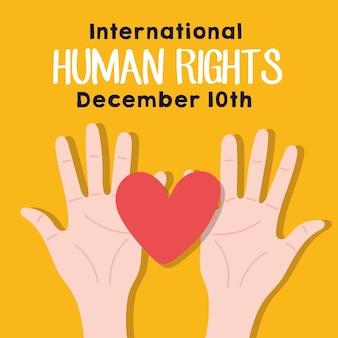Iscrizione della campagna sui diritti umani con le mani che sollevano il disegno dell'illustrazione di vettore del cuore