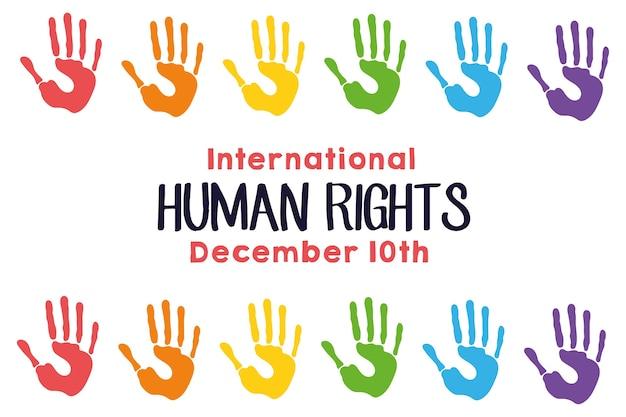 Lettering campagna sui diritti umani con le mani stampa colori cornice quadrata illustrazione vettoriale design