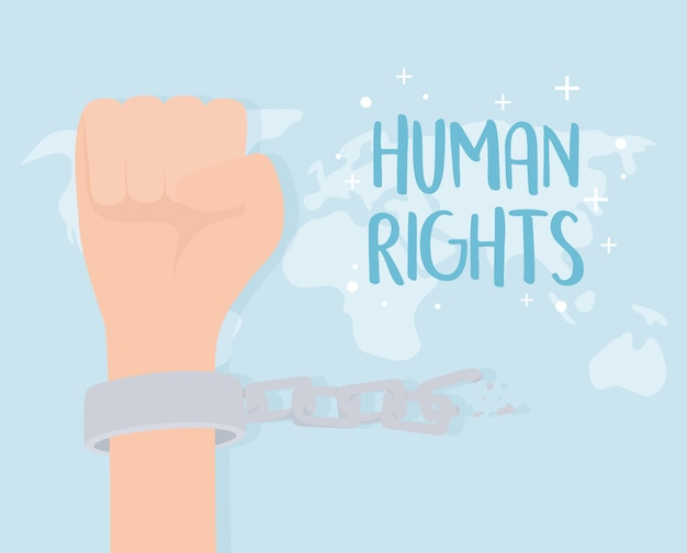 Diritti umani, mano con le manette e catena illustrazione vettoriale mondo