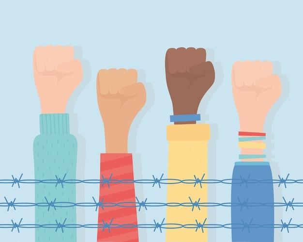 Diritti umani, diversità delle mani sollevate dietro l'illustrazione di vettore del filo spinato