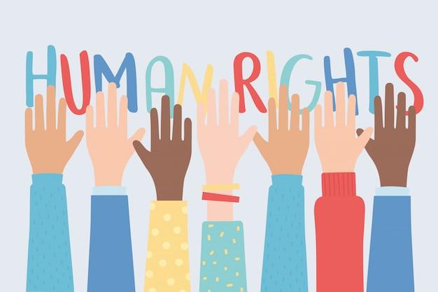 Diritti umani, mani alzate insieme comunità illustrazione vettoriale