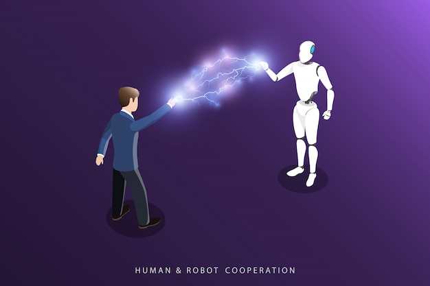 Vettore isometrico piano di cooperazione umana e robot.