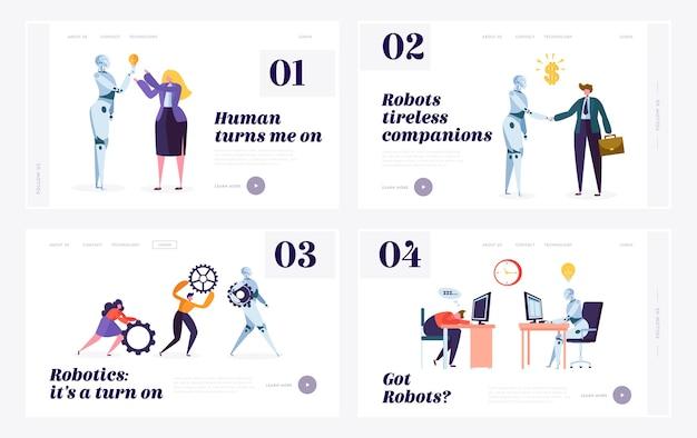 Set di modelli di pagina di destinazione del sito web umano e robot.